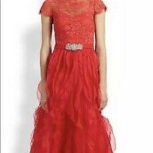 Teri jon red ruffled gown